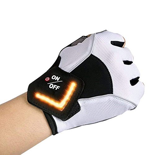 LAFEINA LED Cycling Gloves, USB Rechargeable Mountain Bike Gloves LED Turn Signal Lights, Half Finger Outdoor Breathable Gloves Indicator Light Riding, Gym, Sports (XL)