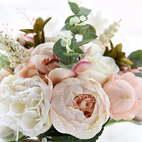 Zippersell Bridal Wedding Bouquet,Artificial Bridal Bride Brooch Bouquets,Handmade Vintage Rustic Style Satin Roses Wedding Flower D520