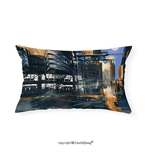 VROSELV Custom pillowcasesFuturistic Digital Paint Science Fiction Cityscape Architecture Cyberpunk Technology for Bedroom Living Room Dorm Black Orange Blue(16''x24'') by VROSELV