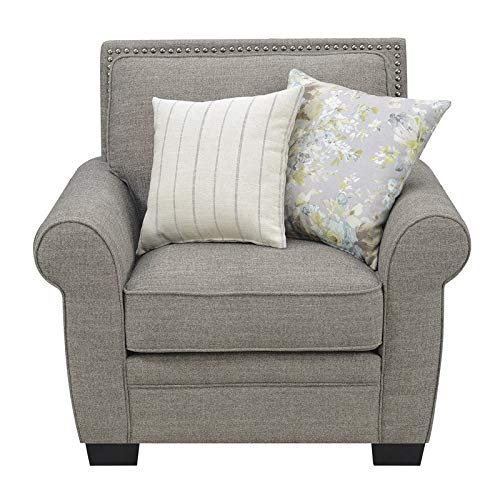 Amazon.com: Pemberly Row Taylor Stone Gray Accent Chair with ...