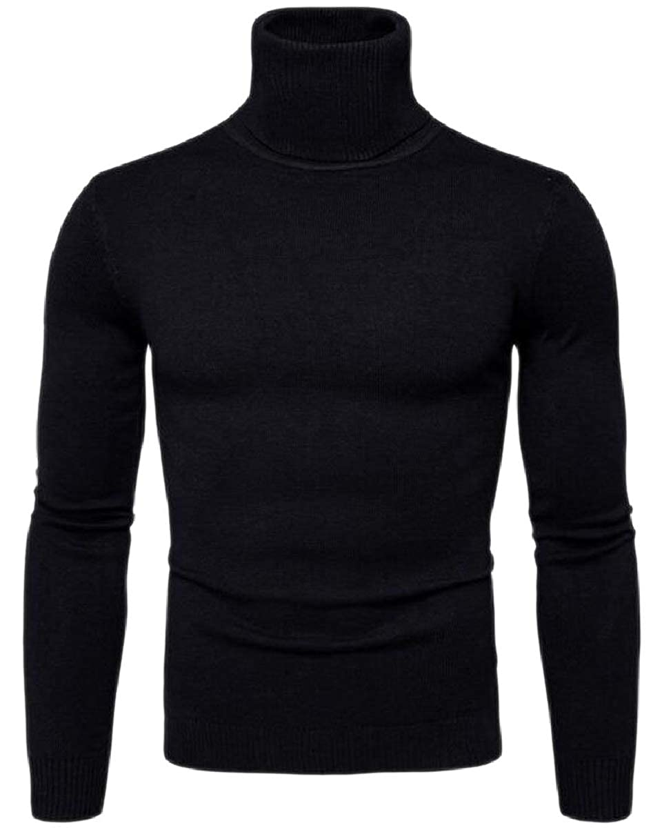 YIhujiuben Mens Pullover Solid Knitted High Neck Warm Sweaters