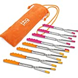 bbqstyle Marshmallow Roasting Sticks, Premium 45'' Extendable Rotating Telescoping Forks for Hot Dog and Smores, Special Safe and Healthy Cookware for Campfire, Camping and Bonfire, Set of 8