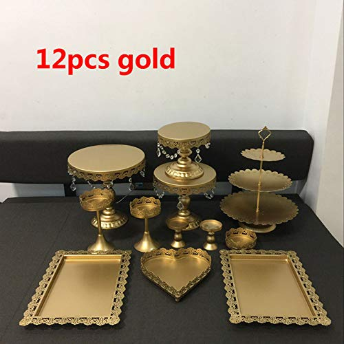 Farmerly gold Wedding Cake Stand Set 6 pcs-18pcs Pieces Cupcake Stand barware Decorating Cooking Cake Tools bakeware Set Party dinnerware   12pcs gold
