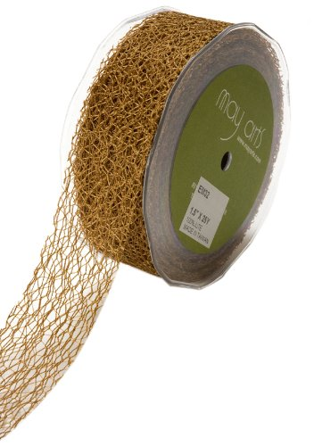 May Arts 1-1/2-Inch Wide Ribbon, Antique Gold Net