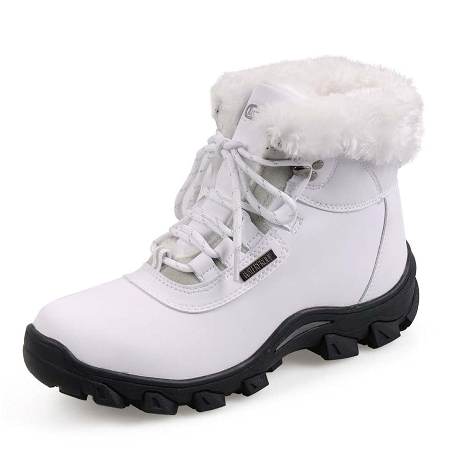 Piggy2gether - Women's Microfiber Leather Waterproof Warm Winter Shoes Snow Boots (White, Size 6.5)