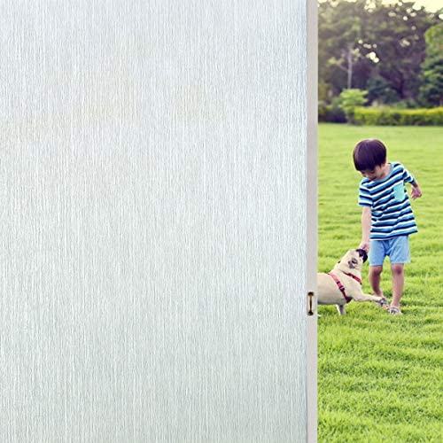 Coavas Window Films Brush Privacy Window Stickers Non Adhesive Static Cling Home Office Films Vinly Glass Film for Bathroom Office Meeting Room Living Room Sliver, 35.5 x118.1