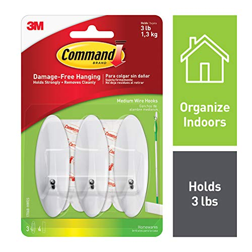 Command 3 lb Capacity Wire Hooks, Medium, Organize Damage-Free, White ()