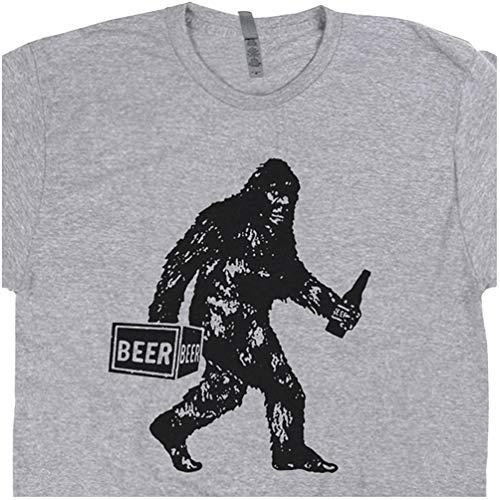 L - Bigfoot T Shirt Drinking Beer Funny Sasquatch Yeti Dive Bar Cool Vintage Famous Redneck Pub Tavern Men Women Gray