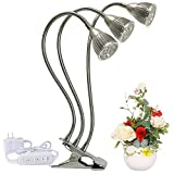 LED Grow Light 15w Full Spectrum Plant Growing Lamps for Indoor Plants with 360 Degree Flexible Gooseneck and 3 Separate Control Switches Office Home Garden House Flowers