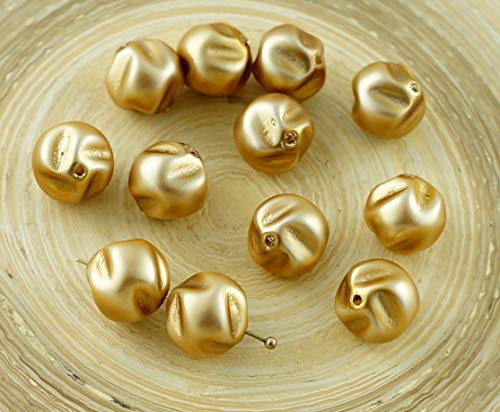 12pcs Matte Gold Pearl Imitation Potato Czech Glass Beads 10mm