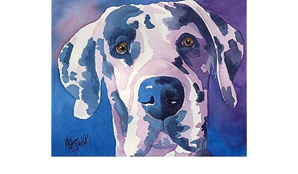 Great Dane Dog Art Print Signed by Artist Ron Krajewski Painting 8x10 Harlequin
