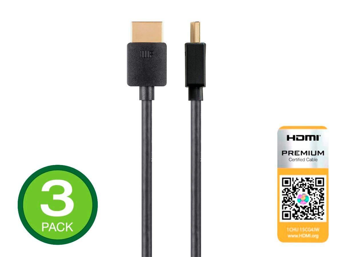 Cable HDMI Premium con certificación Monoprice - 3 pies - Negro (paquete de 3) 4K @ 60Hz HDR 18Gbps 36AWG YUV 4: 4: 4 -