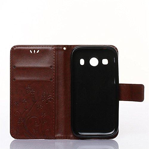 COOLKE Retro Mariposas Patrón PU Leather Wallet With Card Pouch Stand de protección Funda Carcasa Cuero Tapa Case Cover para Samsung Galaxy Ace Style LTE G357 - café marrón marrón
