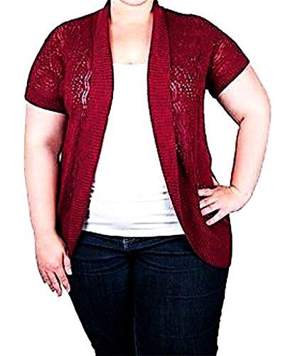Faded Glory Womens Plus-Size Pointelle Cocoon Sweater Shrug 1X(16W) Merlot
