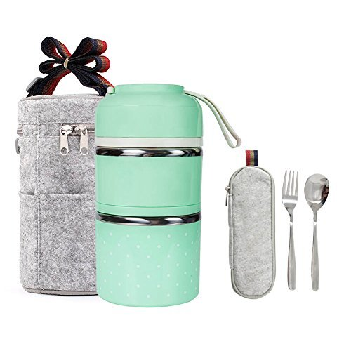 edd4a704846f Stainless Steel Interior Bento Lunch Box 2-Tier Insulated Leak-Proof Tiffin  Food Container Storage Carrier With Insulated Bag And Cutlery … (Green)