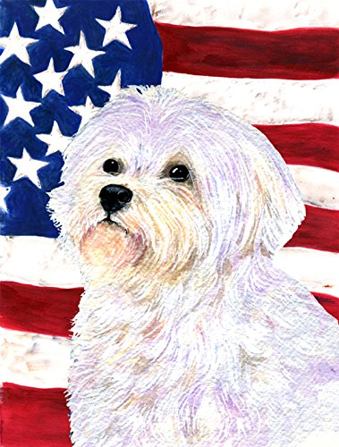 Caroline's Treasures SS4043GF USA American Flag with Maltese Flag, Small, (Maltese Garden)