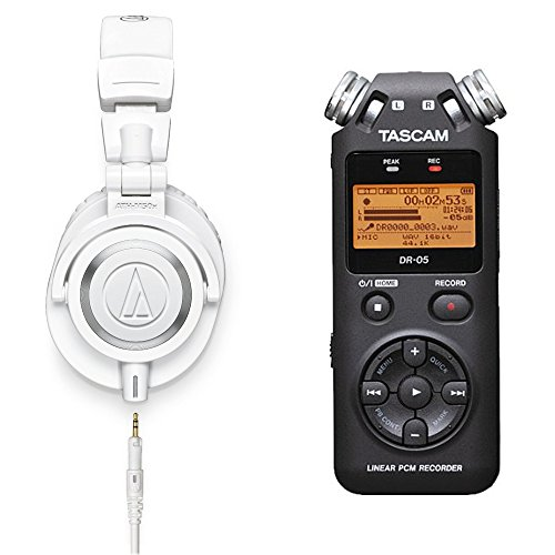 Audio-Technica-ATH-M50xWH-Professional-Monitor-Headphones-Bundle-With-Tascam-DR-05-Portable-Digital-Recorder