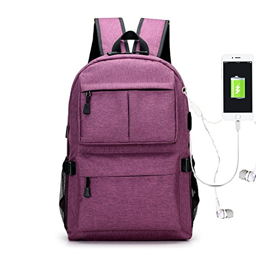 Travel Outdoor Computer Backpack Laptop Bag (Purple) - 9