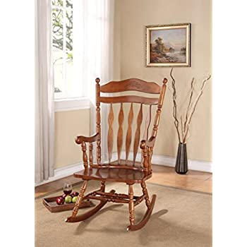 Rocking Wood Chair With Carved Detail In Walnut Finish