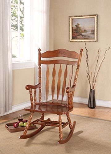 Rocking Wood Chair with Carved Detail in Walnut ()