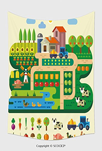 Home Decor Tapestry Wall Hanging Farm Life Country House Village Garden With Tractor And Windmill Fruits And Vegetables Pumpkin for Bedroom Living Room - Colorado Mills At Shops