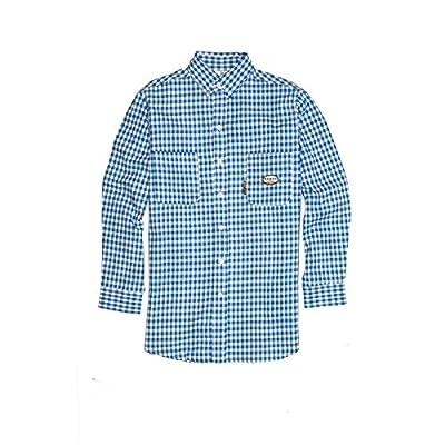 Rasco FR Blue Plaid Dress Shirt - 7.5oz