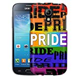 Samsung Galaxy S4 Mini Case, Slim Fit Snap On Cover by Trek Gay Pride Text Design Rainbow Case