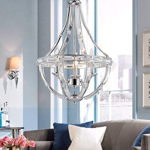 Bestier Polished Nickel Modern Pendant Chandelier Crystal Lighting Ceiling Light Fixture Lamp for Dining Room Bathroom Bedroom Livingroom entryway 3 E12 Bulbs Required D15.7 in x H22.4 in
