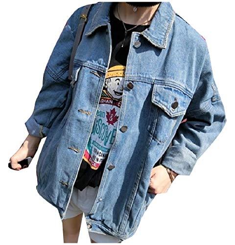 Vintage Jean Light Jacket Howme Washed Lapel Blue Coat Button Boyfriend Women 4YwUqwx5za