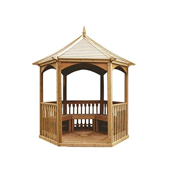 MIO-GIARDINO Brompton - Gazebo esagonale in legno per giardino - tetto in legno - pavimento incluso - misure : 240 x 208… 1 spesavip