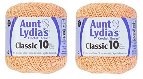 Aunt Lydia's Crochet Thread - Size 10 - Light Peach (Crochet Cotton Light Peach)