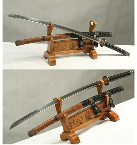 - DAMASCUS FOLDED STEEL CLAY TEMPERED HANDMADE JAPANESE SAMURAI KATANA SWORD
