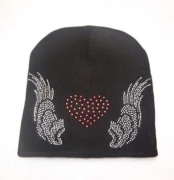 Amazon.com: Angel Wings Red Love Heart Ski Knit Beanie