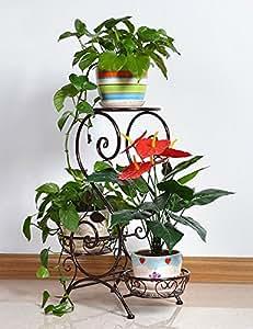LB Estilo Europeo Hierro Antiguo Planta Florero Estantería Maceta 3-flower Pot Para Interior, Balcón, Sala De Estar Estantería para macetas ( Color : Bronce )