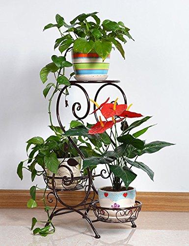 Europäische - Stil Eisen Antique Boden Blumentopf Regal hält 3-Blumentopf für Indoor, Balkon, Wohnzimmer ( farbe : Bronze )