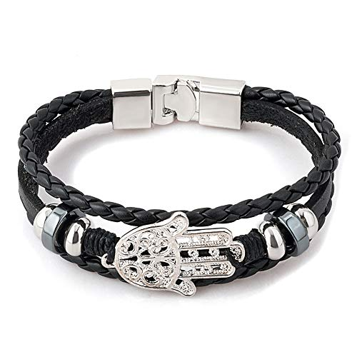 CLY Jewelry Leather Braided Wrap Bracelet Design Black with Titanium Steel Silver Hamsa Hand Leather Clasp Wrap Bracelet Cuff Bracelet Fashion Casual for Women Cool Style for Men