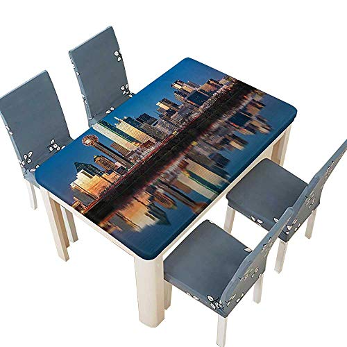 PINAFORE Polyester Tablecloth Dallas Skyline Reflected in Trinity River at Easy Care Spillproof W25.5 x L65 INCH (Elastic Edge)]()