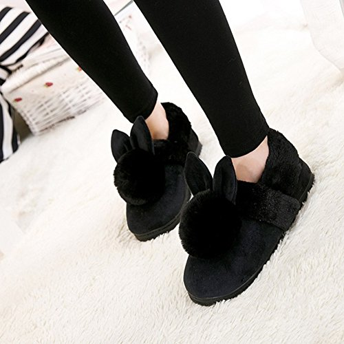 Women Mule Slippers,Woopower Cute Winter Rabbit Plush Non-slip Shoes Indoor Home Shoes Black