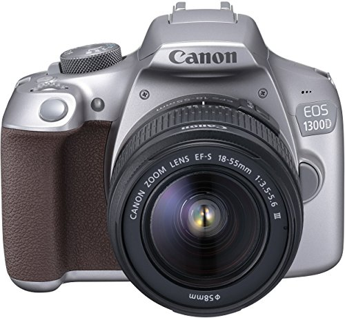 Canon EOS 1300D Digitale Spiegelreflexkamera (18 Megapixel, APS-C CMOS-Sensor, WLAN mit NFC, Full-HD ) Kit inkl. EF-S 18-55mm III Objektiv silber