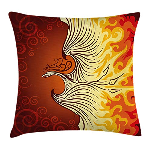 Ambesonne Orange Throw Pillow Cushion Cover, Illustration of Flying Phoenix Bird in The Burning Flame Mythical Creature Print, Decorative Square Accent Pillow Case, 18 X 18 Inches, Orange Yellow ()