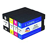 InkIF Compatible Canon PGI-1200XL 1200 XL Ink Cartridegs for Canon MAXIFY MAXIFY MB2020 MB2050 MB2120 MB2320 MB2350 MB2720 Printer High Yeild 4 Color (1 Black, 1 Cyan,1 Magenta,1 Yellow)