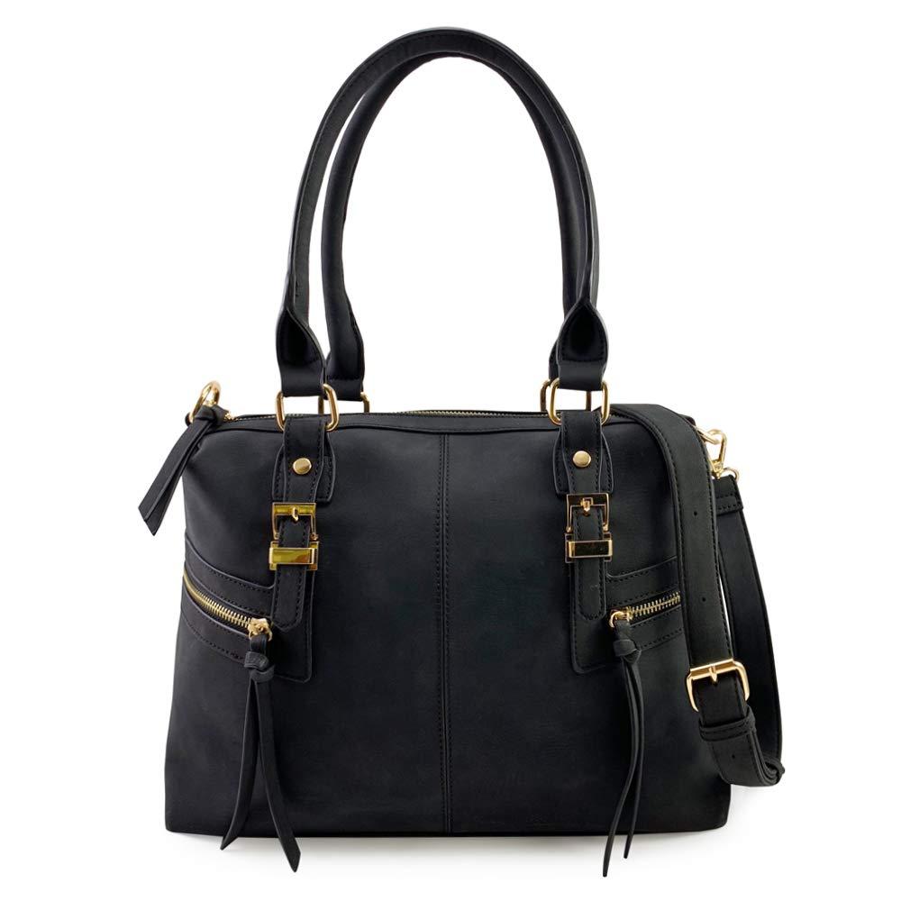 7e4c87c507 VIOLET RAY SPLIT SEAM SIDE ZIP SATCHEL BLACK  Handbags  Amazon.com
