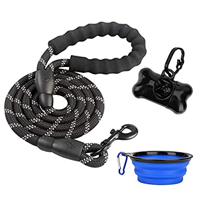 xjzx 5 FT Heavy Dog Leash - Comfortable Filling Handle, Heavy Metal Buckle and High Reflector, Suitable for Small, Medium and Large Dogs, with Foldable Free Pet Bowl