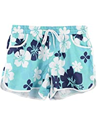 Women Summer Floral Print Beach Sprot Shorts with Drawstring