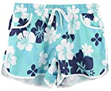 Women's Floral Print Elastic Waistband Beach Short Pants Summer Causal Sports Boardshort Drawstring Navy Floral L