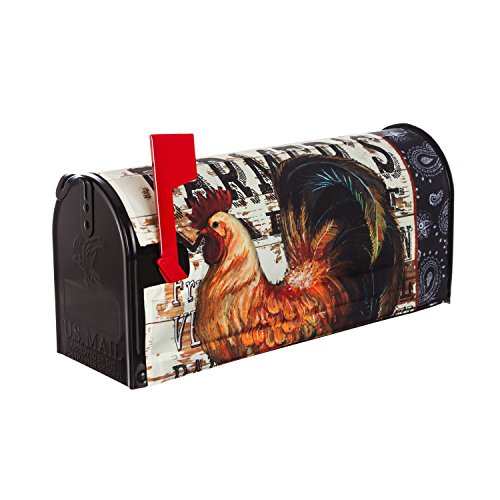 Evergreen Flag Wood Backed Rooster Nylon Magnetic Mailbox Cover for Standard Sized (Rooster Mailbox Cover)