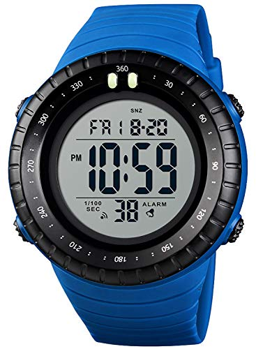 PASOY Men Digital Backlight Big Dial Waterproof 2 Time Zone Blue Rubber Band Alarm Military Outdoor Watch (Blue)