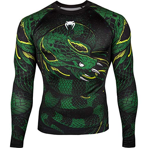 Venum Men's Green Viper Long Sleeve Rash Guard MMA BJJ Black/Green Medium