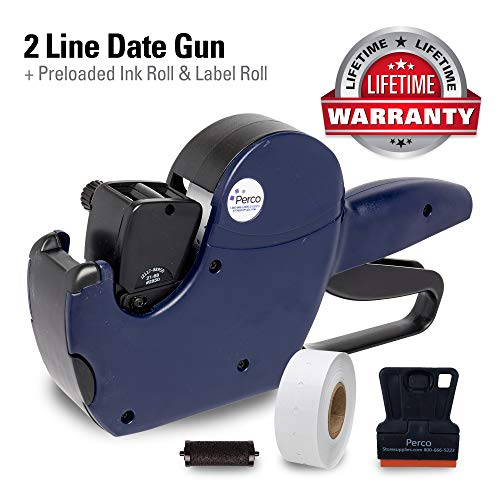 Perco 2 Line Date Gun: Includes 16 Digits Date Gun Labeler, Pre-Loaded Roll of 750 White Labels and Ink Roll
