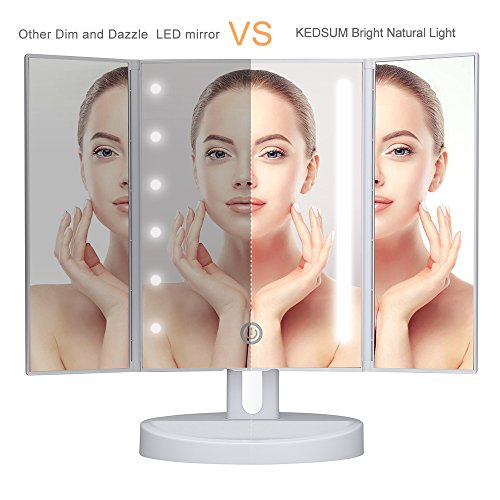 trifold led lighted makeup mirror with touch screen kedsum dimmable natural. Black Bedroom Furniture Sets. Home Design Ideas